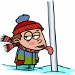 Cartoon Tongue Frozen to Flagpole — Stock Vector