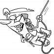 Cartoon male pirate swinging in the air while holding onto a rope — 图库矢量图片