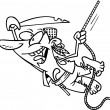 Cartoon male pirate swinging in the air while holding onto a rope — Imagen vectorial