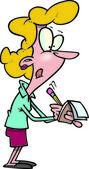 Kreslený žena zapisování poznámek — Stock vektor