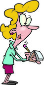 Mulher dos desenhos animados, tomando notas — Vetorial Stock