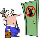 Cartoon Unwelcome Salesman — Stock Vector