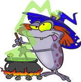 Pozione di rospo strega dei cartoni animati — Vettoriale Stock