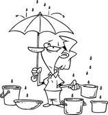 Cartoon Leaky Roof — Stock Vector