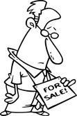 Cartoon Businessman For Sale — Stock Vector
