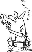 Cartoon Man Sleeping on His Feet — Stock Vector