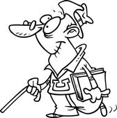 Cartoon Senior Student — Stock Vector