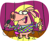 Cartoon Pig Comedian — Stock Vector