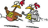 Cartoon Chicken Race — Stock Vector