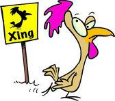 Cartoon Chicken Crossing — Stock Vector
