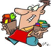 Cartoon Grocery Shopping — Stock Vector