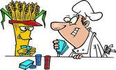 Cartoon Chef Gambler — Stock Vector