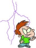 Cartoon Boy Afraid of Lightning — Stock Vector