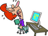 Cartoon computer frustration — Stock Vector