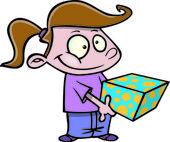 Cartoon girl giving a gift — Stock Vector