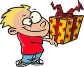 çizgi film çocuk bir hediye vermek — Stok Vektör