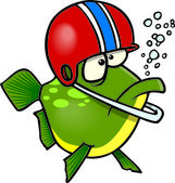A cartoon fish wearing a football helmet — Vector de stock