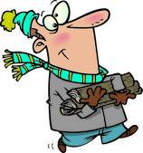 Homme bande dessinée transportant du bois de chauffage — Vecteur