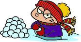 Cartoon boy making snowballs — Stock Vector