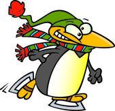 Cartoon Penguin Ice Skater — Stock Vector