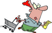 Cartoon Man Shopping — Wektor stockowy