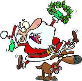 Cartoon Santa Joy — Stock Vector