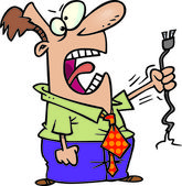 Cartoon Angry Man Electronics — Stock Vector