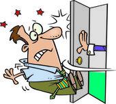 Cartoon Open Door Policy — Stock Vector