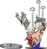 Cartoon-mann fällt in schacht — Stockvektor
