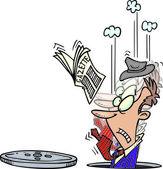 Hombre de dibujos animados caer en alcantarilla — Vector de stock