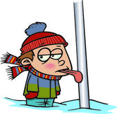 Cartoon Tongue Frozen to Flagpole — Stock Vector