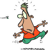 Cartoon man scared of fly — Stock Vector