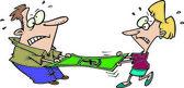 Cartoon Couple Stretching a Dollar — Stock Vector