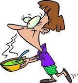 Cartoon Woman Serving Soup — Stock Vector
