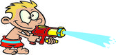 Cartoon Boy Shooting Water Gun — Stock Vector