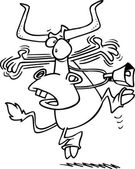 Cartoon Cow Alarmed — Stock Vector