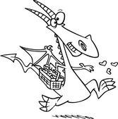 Cartoon Love Dragon — Stock Vector