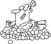 Cartoon Man Making Lemonade — Stock Vector