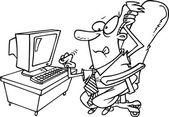 Cartoon Businessman Computer — Stock Vector