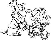 Cartoon Boy Learning to Ride a Bike — Stock Vector