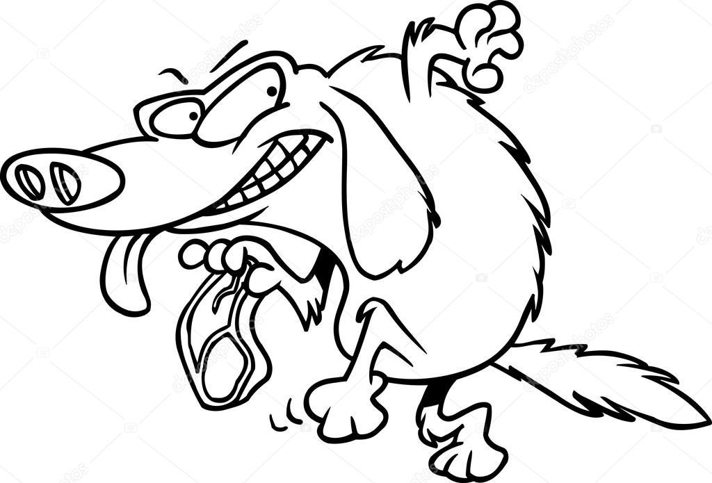Cartoon Thief Running Cartoon Dog Thief — Vector by