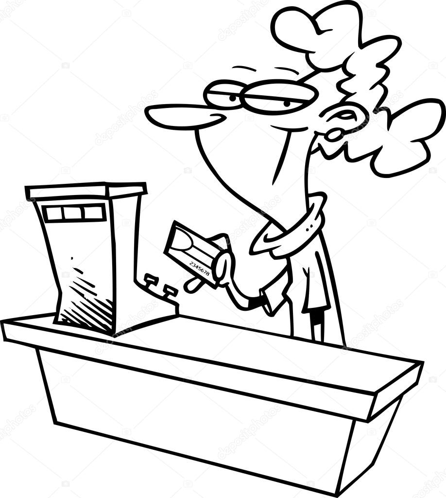 cartoon s clerk stock vector copy ronleishman  black and white line art illustration of a female cartoon s clerk working at a cash register vector by ronleishman