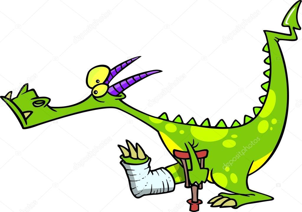 Karikatür ejderha cratches — stok vektör ronleishman