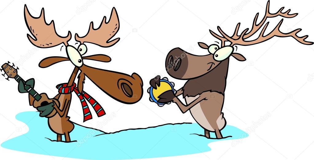 Cartone animato alci e renne musicisti — vettoriali stock