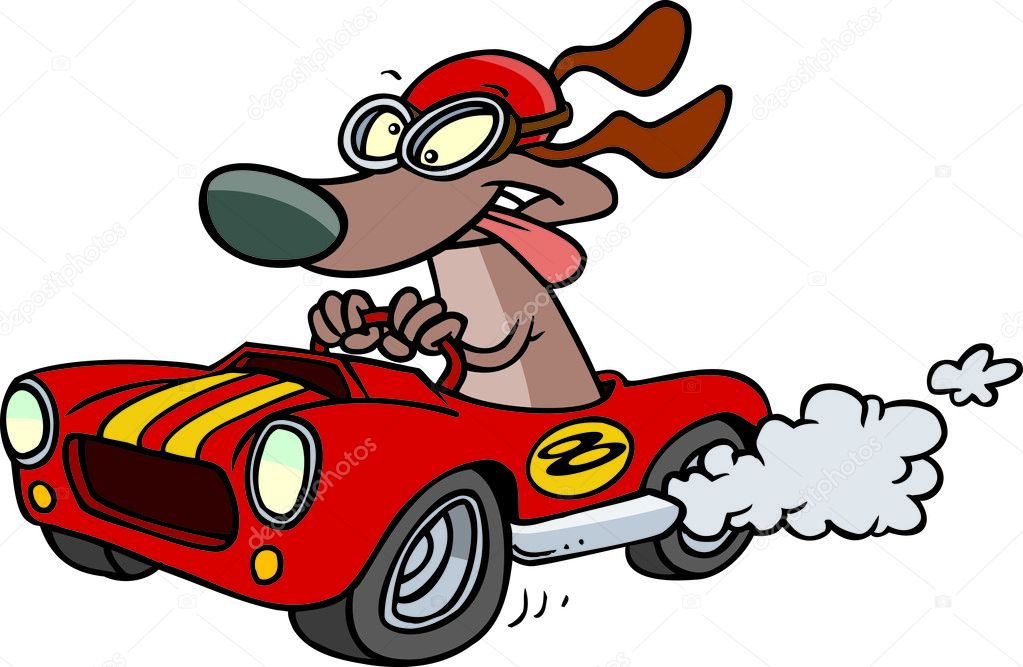 Going Fast Cartoon a Cartoon Dog Driving a Fast