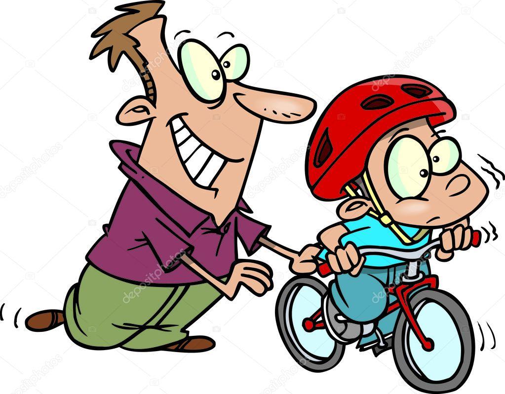 Niña Feliz Andar En Bicicleta: Niño De Dibujos Animados Aprendiendo A Andar En Bicicleta