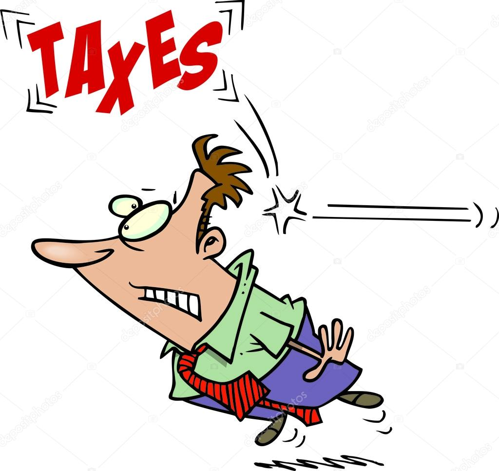A cartoon businessman hit in the back of the head by taxes  Stock Vector #13951453