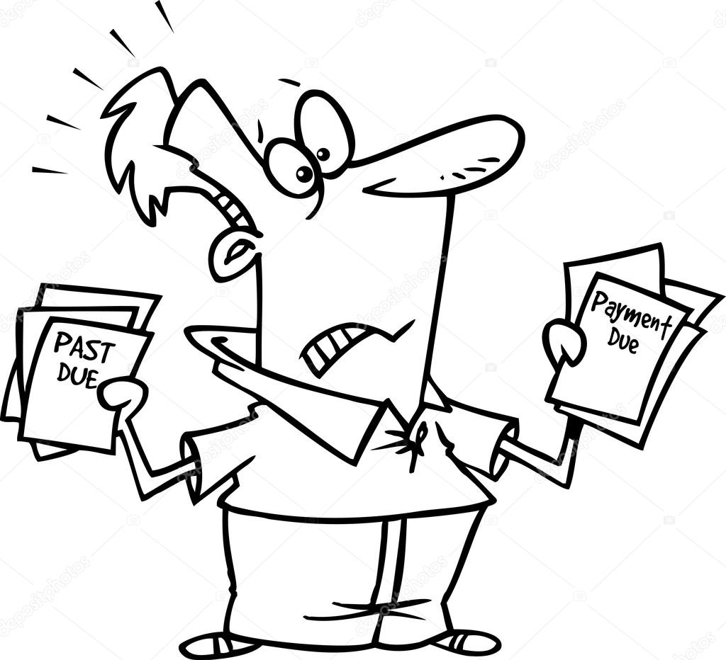 Black and white line art illustration of a frustrated cartoon man holding past due bills ( — Stock Vector #13951588