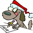 Cartoon brown puppy dog wearing a santa hat and writing a letter — Stock Vector