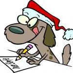 Cartoon bruin puppy hondje dragen een kerstmuts en het schrijven van een brief — Stockvector